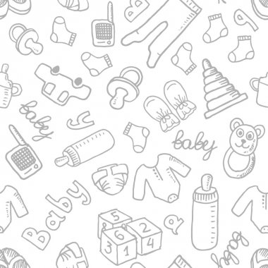 Vector doodle seamless pattern with baby items. Eps 10 stock vector