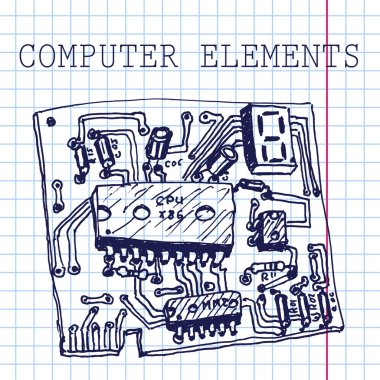 Vector hand draw computer circuit board on paper. Eps10