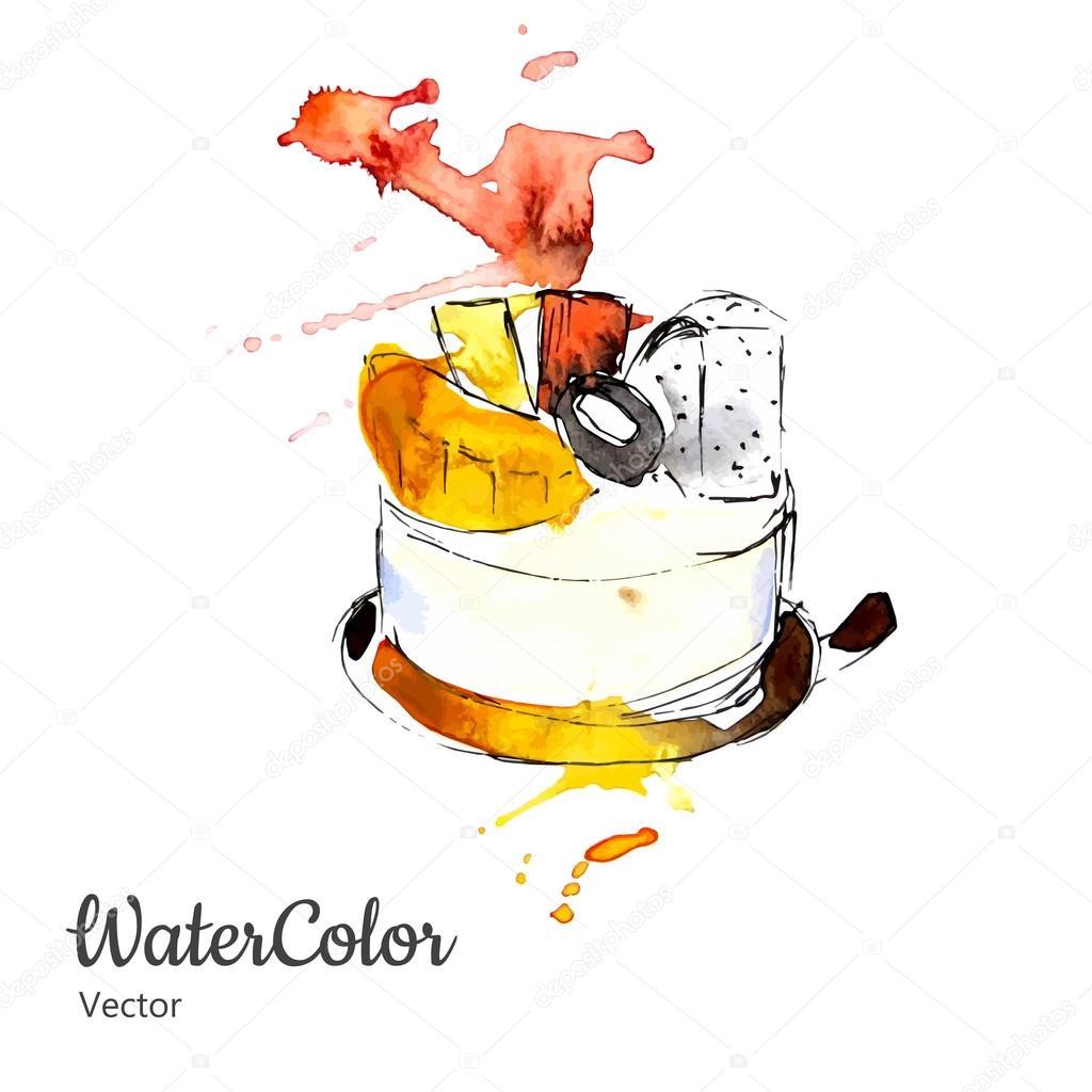Vector hand painting watercolor dessert. Eps10
