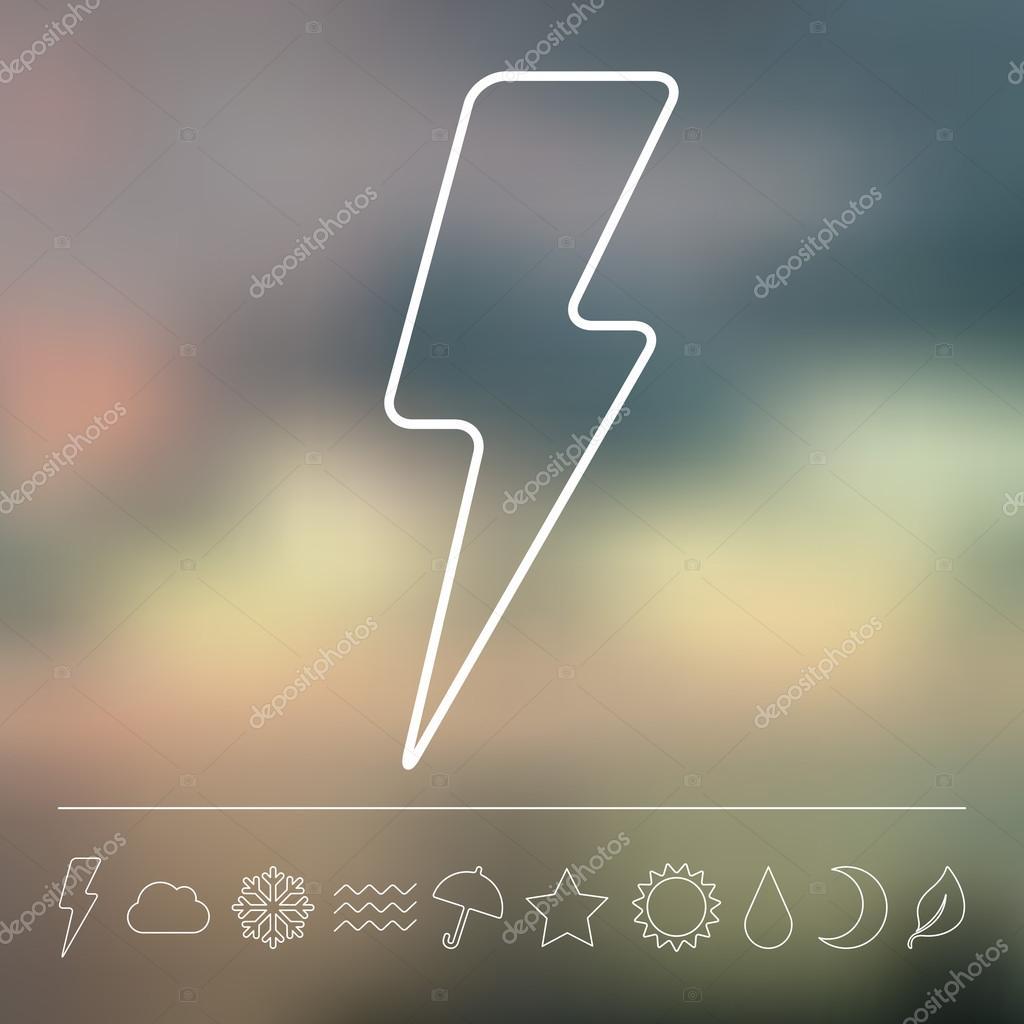 Flat lightning and weather icon set
