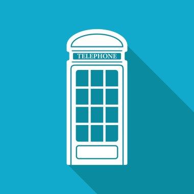 Flat telephone box icon