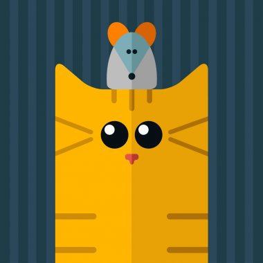 cat and mouse flat design