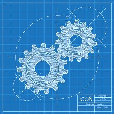 Flat cogwheels icon