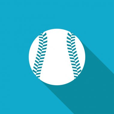 Vector white flat baseball icon on blue background stock vector