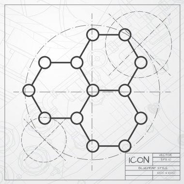 Graphene icon on blueprint background