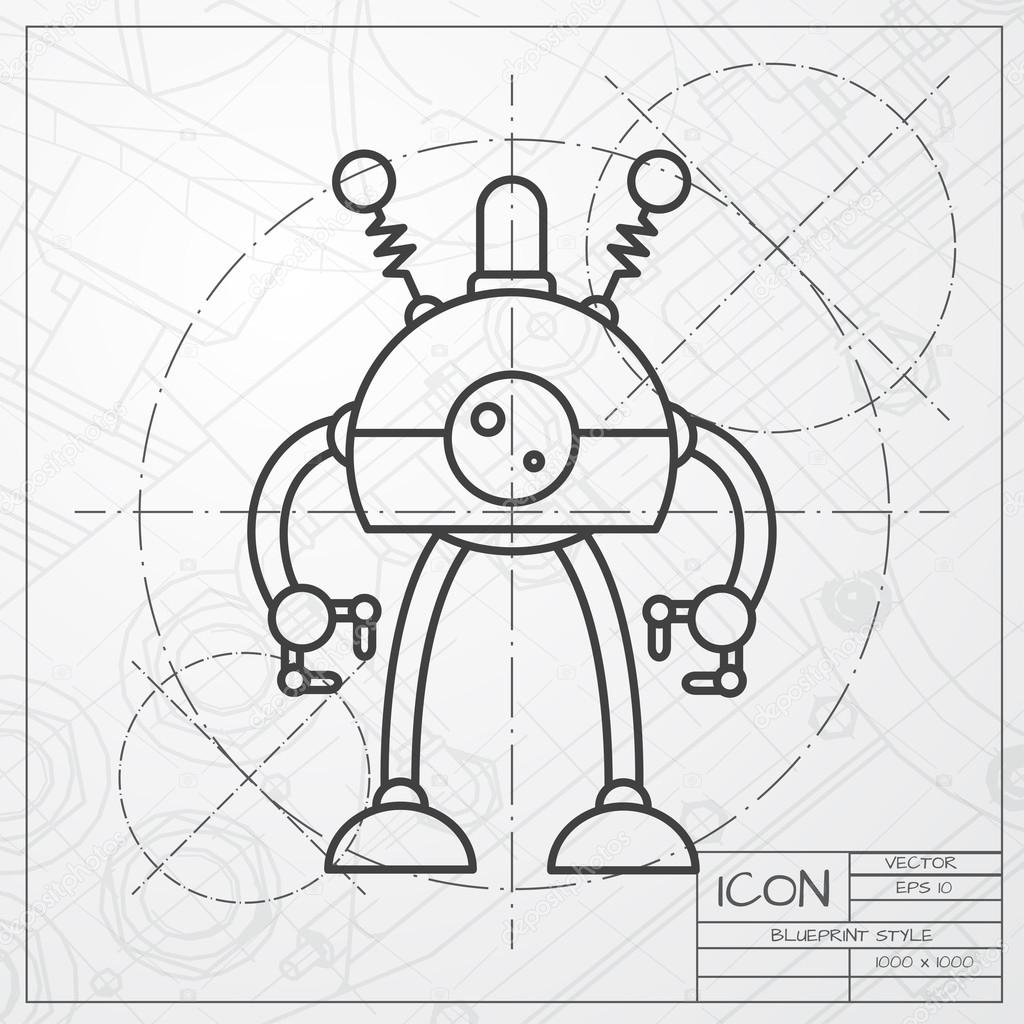 Robot toy icon on blueprint background stock vector vector classic blueprint of retro robot toy icon on engineer and architect background vector by maralingstad find similar images malvernweather Images