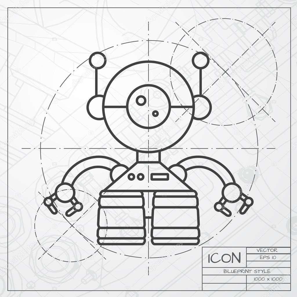 Robot toy icon on blueprint background stock vector vector classic blueprint of retro robot toy icon on engineer and architect background vector by maralingstad find similar images malvernweather Gallery