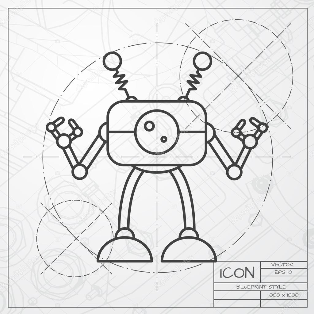 Robot toy icon on blueprint background stock vector robot toy icon on blueprint background stock vector malvernweather Image collections