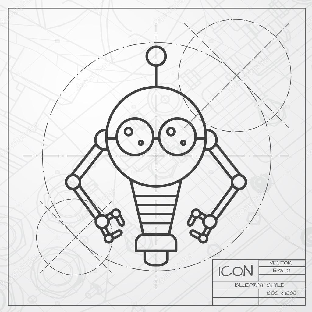 Robot toy icon on blueprint background stock vector robot toy icon on blueprint background stock vector malvernweather Images