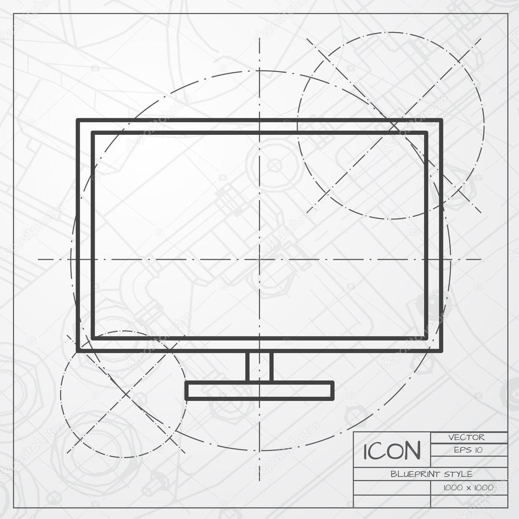 Tv or monitor icon on blueprint background stock vector vector classic blueprint of tv or monitor icon on engineer and architect background vector by maralingstad malvernweather Images