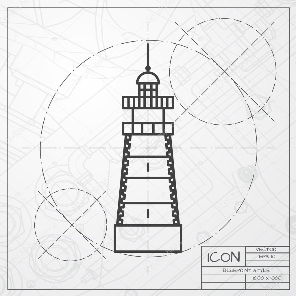 Lighthouse icon on blueprint background stock vector lighthouse icon on blueprint background stock vector malvernweather Images