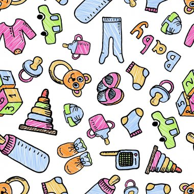 seamless pattern with baby items