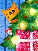 Fotografie Weihnachten Winter Katze