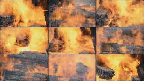 Feuer Nahaufnahme Collage