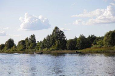 """Картина, постер, плакат, фотообои """"красивый берег реки волги с зеленым лесом в перспективе и спокойная вода на голубом небе с белыми облаками фон в летний день, пейзаж русский природный пейзаж вид из воды пейзажи"""", артикул 432215590"""