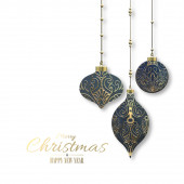Vánoční přání na bílém s vánoční koule se zlatou ozdobou na bílém pozadí. 3D vykreslení. Veselé Vánoce, šťastný nový rok. Místo pro text
