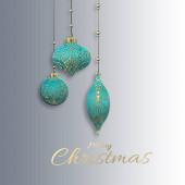 Vánoční přání s tyrkysově modré Vánoční koule, zlatý orientální ornament na pastelově šedé bílé pozadí. Veselé Vánoce, šťastný nový rok. 3D ilustrace