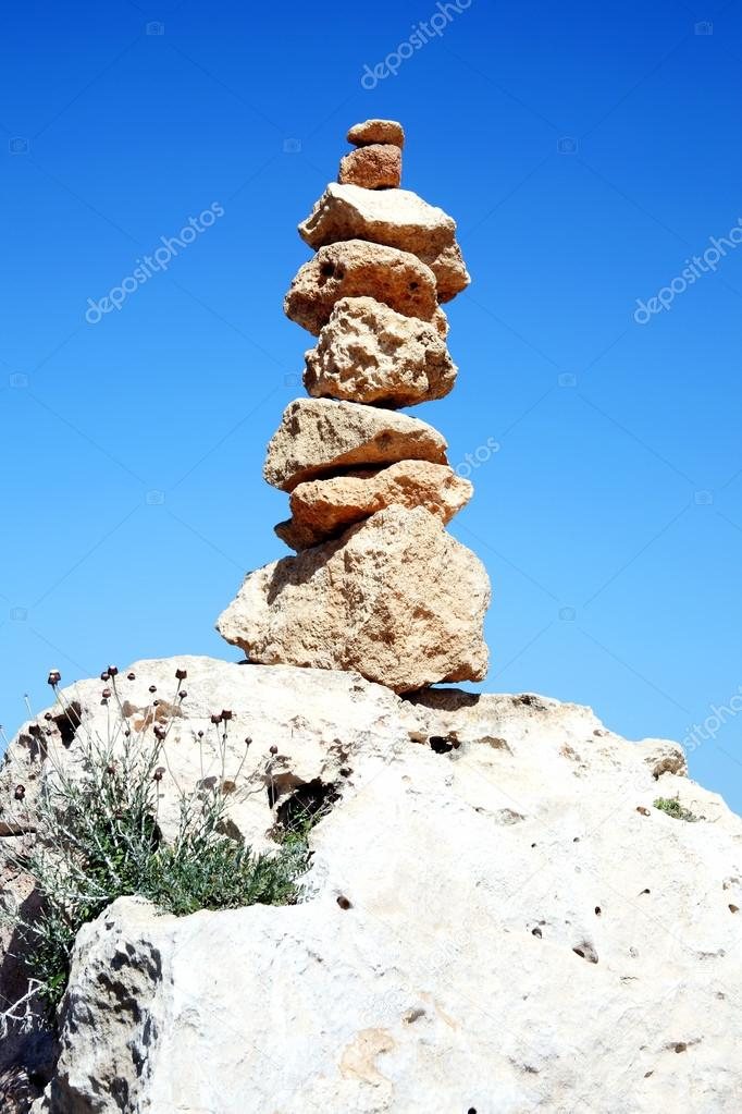 Balanced rocks in a spiritual stacked