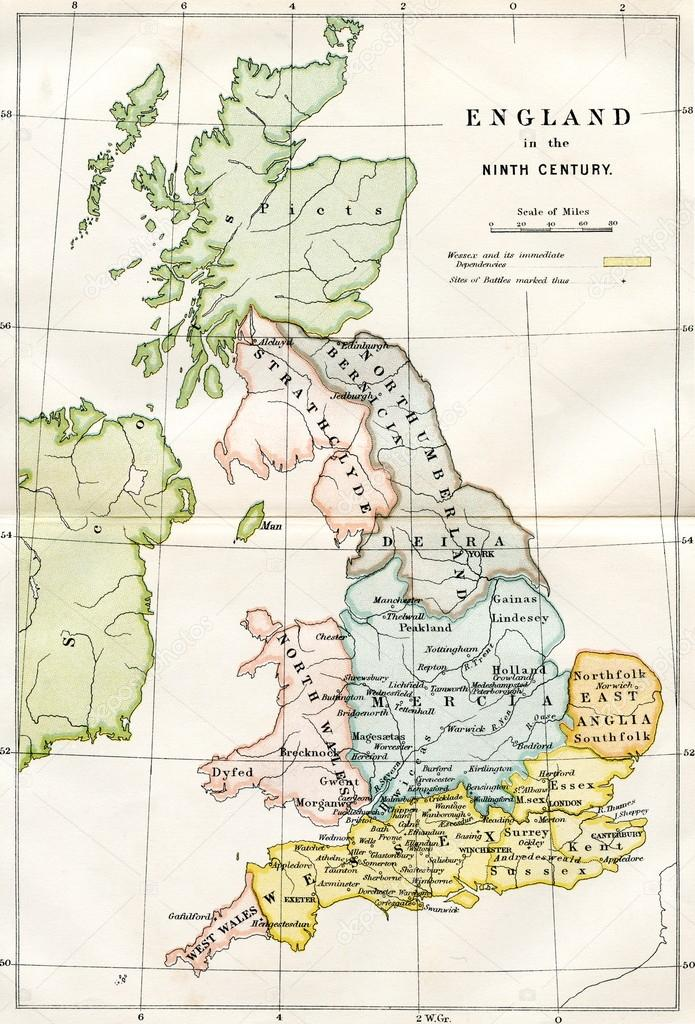 Map Of England In 9th Century.9th Century Map Of Great Britain Stock Photo C Lenschanger 64630753