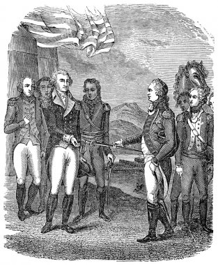 Surrender of Cornwallis during the USA American Revolutionary War