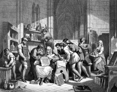Caxton reading the first proof sheet from his printing press