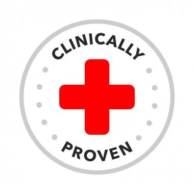 Clinically tested, approved, vector badge icon