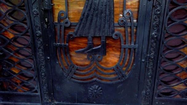 Old metal door. Vintage background close-up.