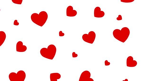 Animációs minta szív fehér hátterű. Romantikus illusztráció. Valentin napi kártya.