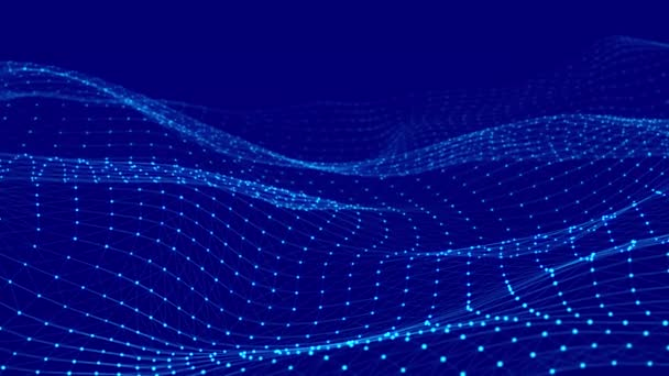 Ilustrace datové technologie. Abstraktní vlna s spojovacími body a čárami. Digitální pozadí. 3D vykreslování. Bezešvé smyčky.