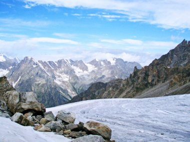 near Elbrus,descent from Mount Elbrus in the morning