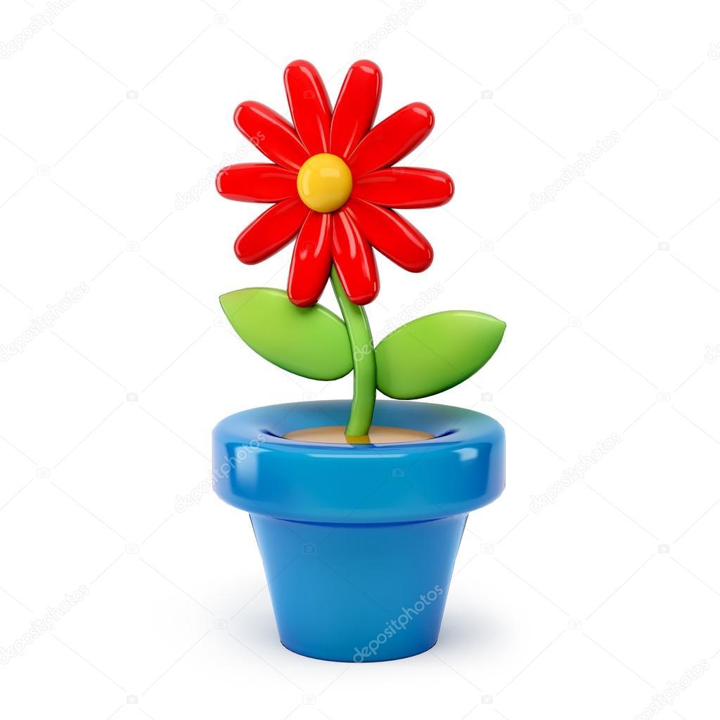 Flor en maceta dibujos animados 3d aislados sobre fondo - Flores de maceta ...