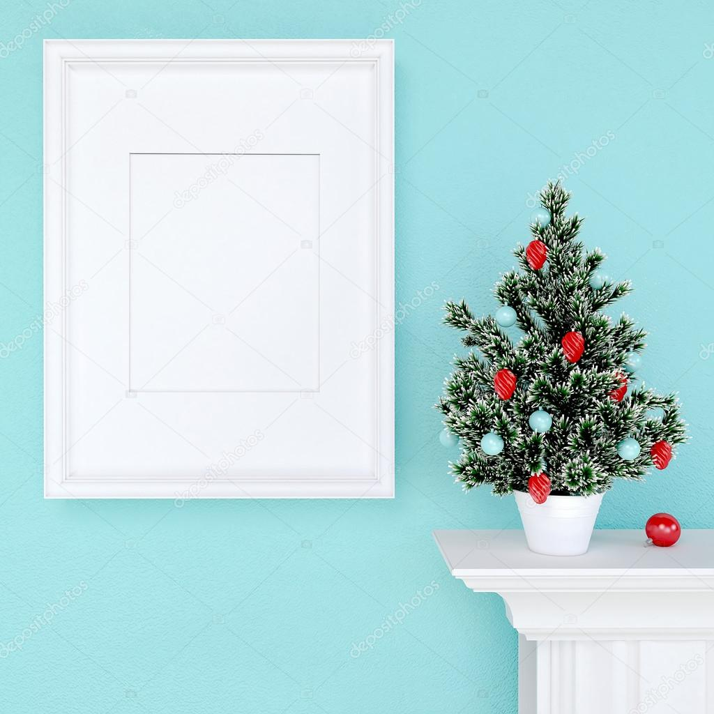 Mock up poster and christmas tree on a dresser with blue wall