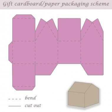 Printable packaging and wrapping scheme box for gifts, presents and events, convertible to different sizes, 3D, laser cut, craft art, house shaped