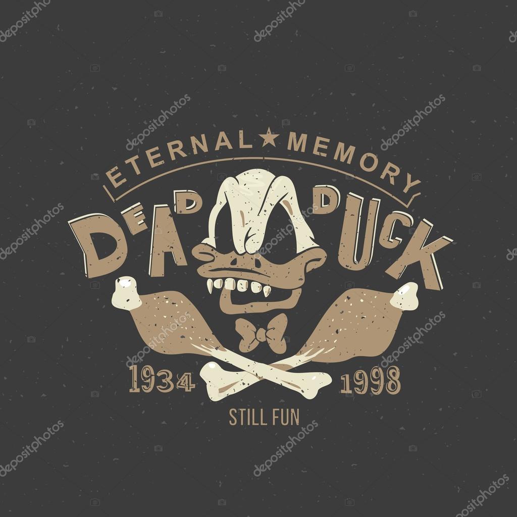 imprimir desenhos animados donald pato morto vetor de stock