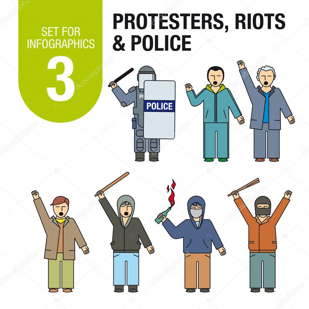 Set for infographics # 3: international terrorism and war. Protests, riots, police