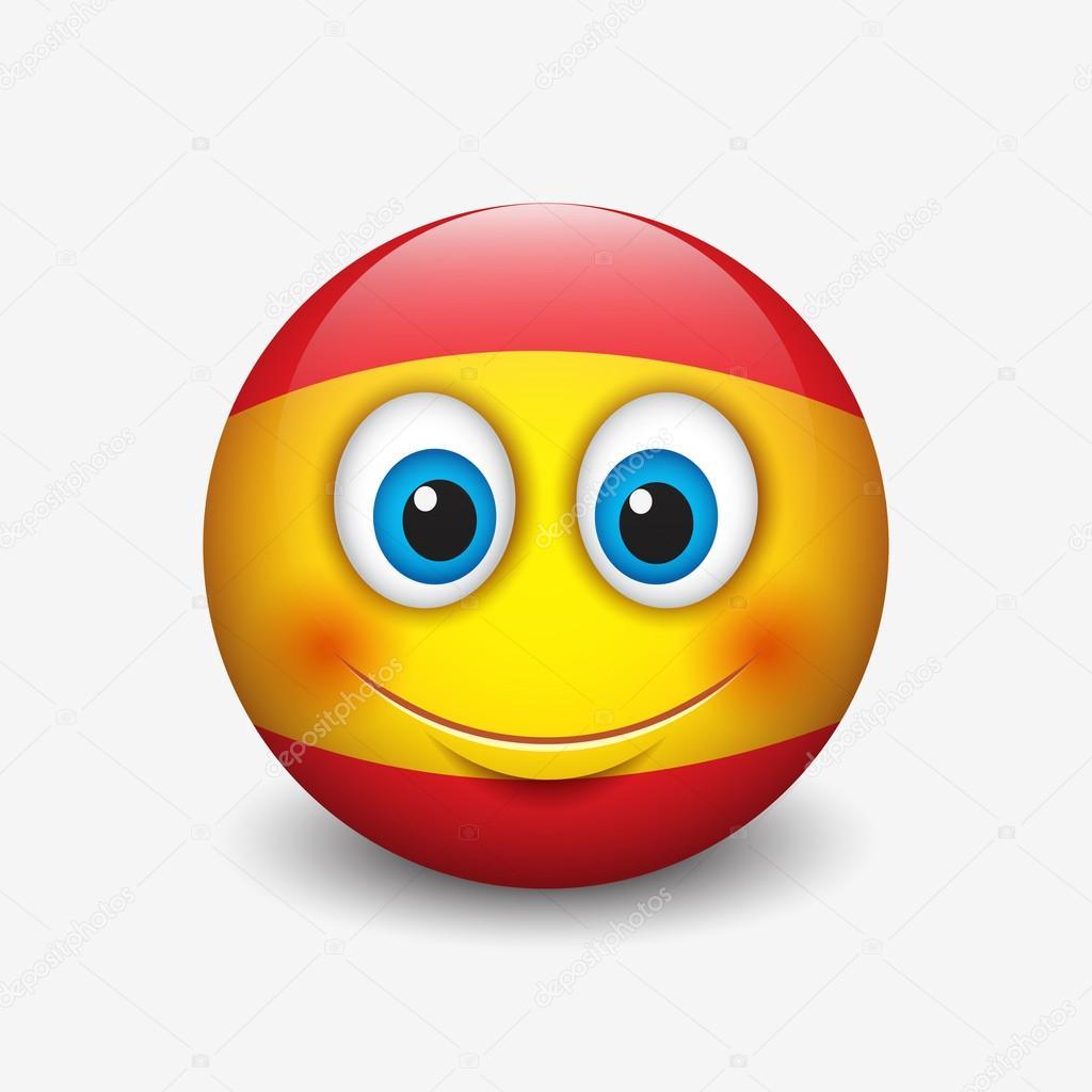Émoticône mignon avec le drapeau de l'Espagne — Image ...