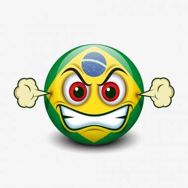 Angry emoticon with Brazil flag