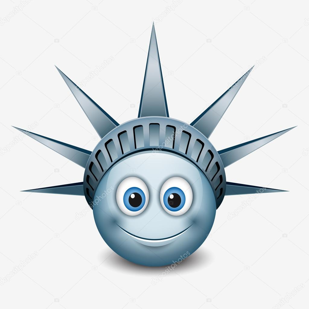 Emoticon wearing statue of liberty crown stock vector i cute emoticon wearing statue of liberty crown new york emoji smiley vector illustration vector by itrovic buycottarizona Gallery