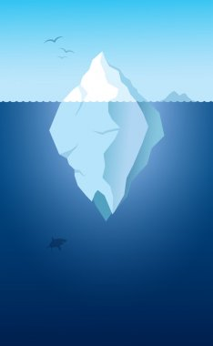 Iceberg and shark - vector illustration stock vector