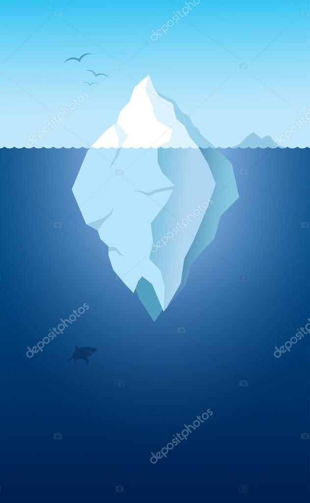Iceberg and shark  illustration