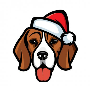 Vector illustration of beagle dog in Santa hat icon