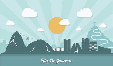 Rio De Janeiro skyline - flat design - vector illustration clip art vector