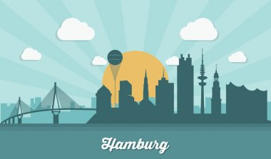Hamburg skyline - flat design