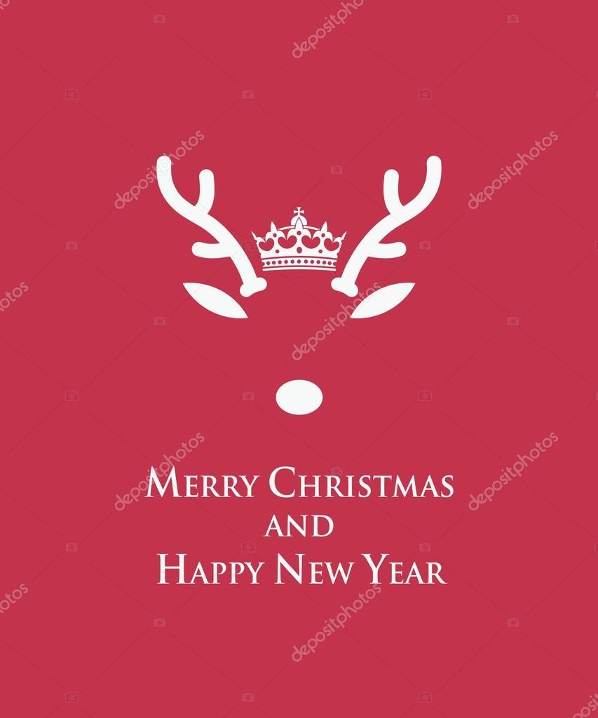 Lustige Weihnachtskarte mit Rentier Vorlage — Stockvektor © I ...