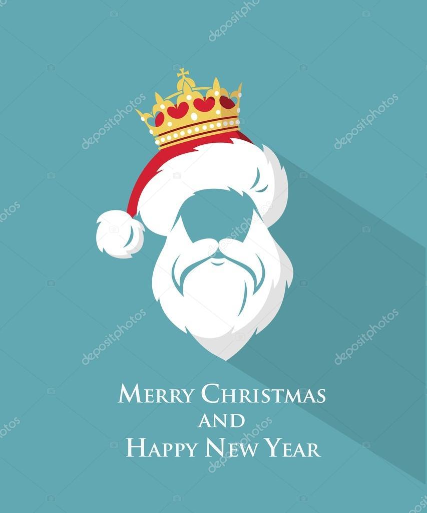 Lustige Weihnachtskarte mit Weihnachtsmann Vorlage — Stockvektor © I ...