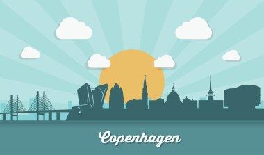 Copenhagen skyline - flat design