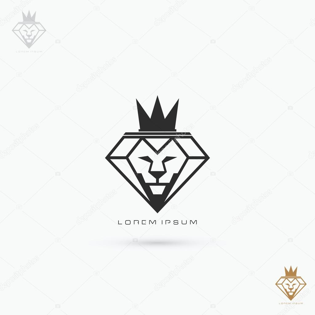 Icon: lion with crown symbol | Diamond lion with crown