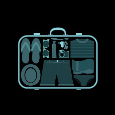 Suitcase at x-ray airport scanner