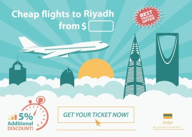 Flat travel banner - Riyadh