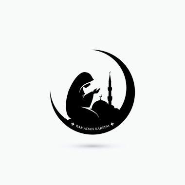 Muslim woman praying symbol